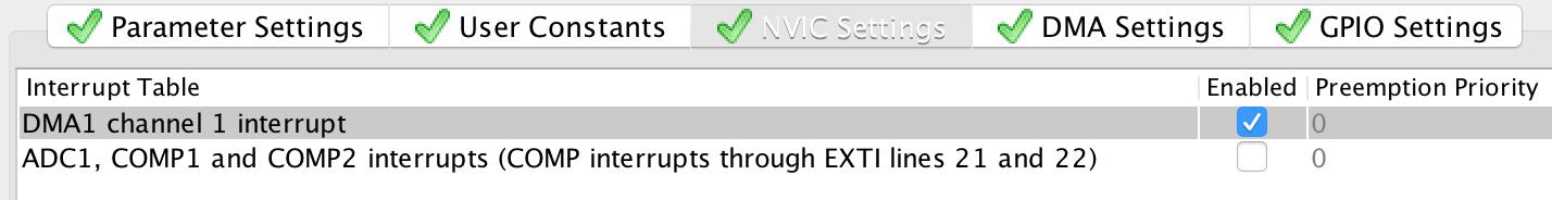 NVIC Settings